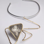"Necklace ""zig-zag"", fine silver 925, brass, contact@oro.mk"