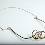 "Necklace ""twist"", fine silver 925, brass, contact@oro.mk"